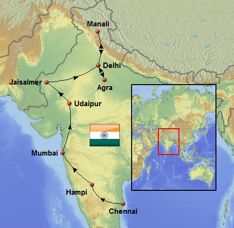 Weltreise Route in Indien