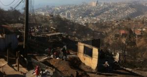 Abgebranntes Stadtgebiet